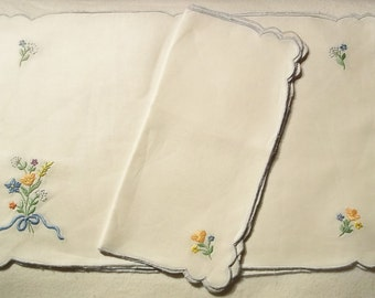 Linen Embroidered Placemats and Napkins