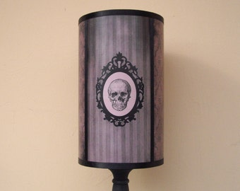 "Skull lamp shade lampshade ""Grunge Baroque Skul"" - goth decor, unique lighting, chic decor, cameo, anatomy, gifts for men, gifts for women"