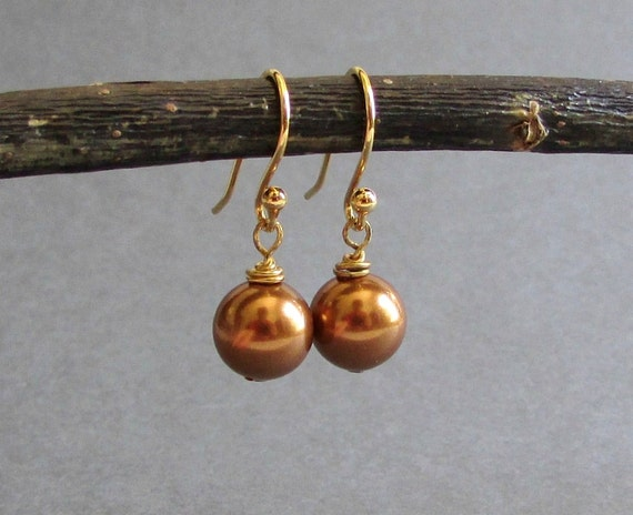 Bronze Pearl Earrings / Copper Swarovski Pearl Earrings / Pearl Drop Earrings / 14k Yellow Gold Plated Earrings - Classic No. 34