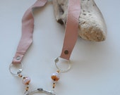 Handmade Sterling Silver Leather Necklace Pink Czech Beads