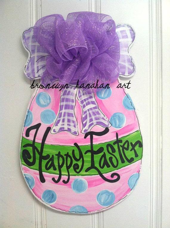 Happy Easter Egg Door Hanger - Bronwyn Hanahan Art