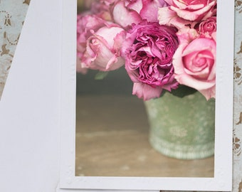 Paris Photography Notecard - Roses Note Card, Floral French Photo Notecard, Stationery, Blank Notecard