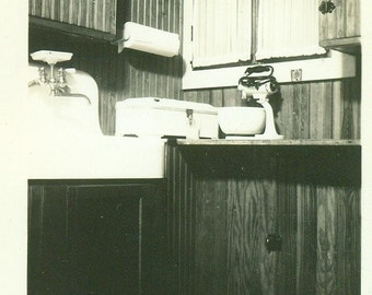 In the Kitchen Electric Mixer Sink Paper Towels Wooden Cabinets Antique Vintage Black and White Photo Photograph