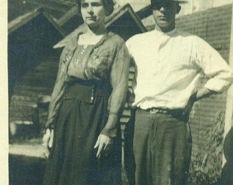 Hard Working Farm Couple Husband Wife Antique Vintage Black and White Photo Photograph
