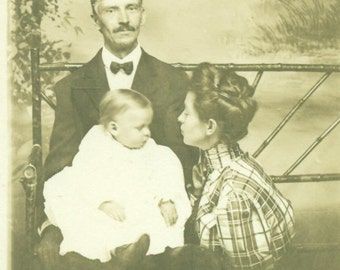 RPPC Mother Kissing Baby in Father's Lap Family Antique Real Photo Postcard Vintage Black White Photo Photograph