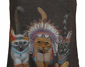 Three Native Kitty Cats Tank Top American Apparel  Coffee Brown or Cranberry  XS S M or L