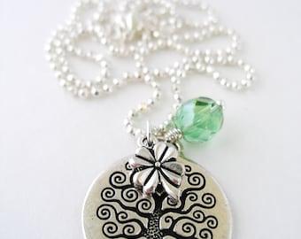CELTIC Silver TREE of LIFE Irish Charm Necklace