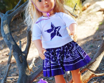 5 Piece Set Saige American Girl Doll 18 inch Cowgirl Outfit incl Western Applique Shirt, Bandana Skirt, Cowboy Hat & Cowboy Boots