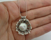 SALE!!! Art Handmade Unique 925 Sterling Silver Pearl Pendant, Free shipping, Ready to ship,Israel Jewelry, White Pearl Pendant (s p2084)
