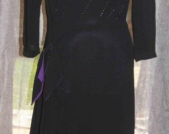1940s Black Wool Crepe Dress, Black and Purple Vintage Dress, Vintage Dresses