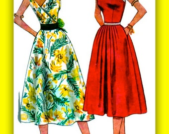 UNCUT Vintage 1950's Simplicity Pattern 4336 //  STUNNING  Back Wrapped Sun Dress /// Bust 34
