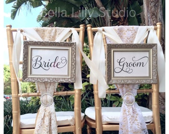 Chair Signs Bride and Groom or Mr and Mrs Wedding Signs, Mr and Mrs Reception Signs, Chair Signs 5x7