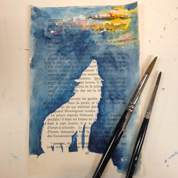 Book Cover Watercolor Paint ~ Items similar to howling wolf silhouette watercolor