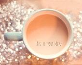 New Year Inspiration Fine Art Print Glitter Coffee Teal Aqua Mug Silver Happy New Year Wholesale