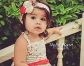 Holiday Headband, Christmas, Baby Girl Newborn, Red and Cream, Photo Prop, Headbands. MTM Amelie Jo Snow Bird Dress