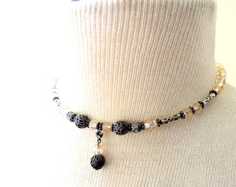 Memory Wire Choker Necklace Drop Dangle Pendant Filigree Metal Bead Beaded Faceted Citrine Champagne Romantic Drops