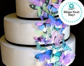 Edible Butterflies - Purple and Green - Butterfly Cake Decorations - Cupcake Topper
