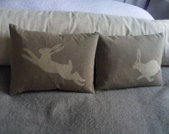 handmade taupe  hare pair pillows