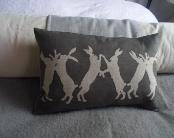 hand printed  reversible little  boxing hares cushion cover