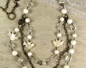 Anastasia..White Multi Strand Necklace As Seen In Bead Trends (includes bracelet).