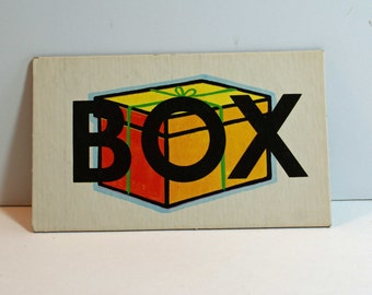 Vintage Flash Card BOX Picture Card Nursery Decor Ephemera Blue STOP Word Flashcard