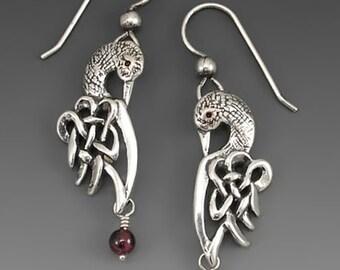 Loon Celtic Sterling Silver Earrings with Garnet
