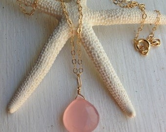 Pink Chalcedony necklace on 14K thin gold filled chain. Made in Hawaii USA. Best Friend Gift Mother in Law layers bride bridesmaid wedding
