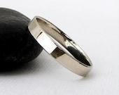 Men's Wedding Band White Gold Wedding Ring Plain White Gold Wedding Band Simple Wedding Ring 14K Engraved Personalized Wedding Band for Him