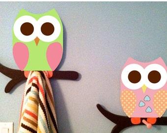 owl towel racks, owl bathroom decor, kids room decor, owl nursery decor, wooden owl, children's bathroom, owl clothing rack, owl bathroom