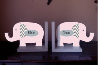 elephant bookends safari bookends elephant decor nursery decor elephant nursery personalized children's bookends pink elephant pink and gray