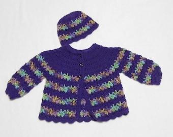 Purple Striped Sweater Set size 4 5 4T 5T
