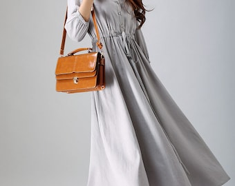 Grey dress, shirt dress, ladies dresses, linen dress, long maxi dress, mod clothing,fall dress, custom made dress, button dress, Gift (785)