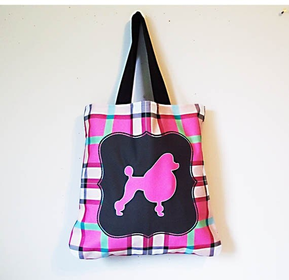 Market Tote, Large Sturdy Canvas Tote Bag, Dog Lover Bag, 3 Sizes to choose from, Grocery Shopping Canvas Bag, Hot Pink Poodle on Plaid