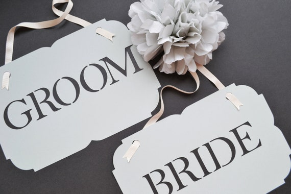 Classic and elegant Bride and Groom Signs Custom