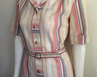 Vintage Women's 70's Shirt Dress, Tan, Red, White, Blue, Knee Length (M/L)