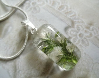 White Baby's Breath & Lush,Frosted Ferns Small Glass Rectangle Pendant-Gifts Under 25-Symbolizes Purity,Innocence,Perseverance-Nature's Art