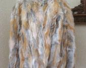 Vintage natural red fox fur jacket 53 Bust