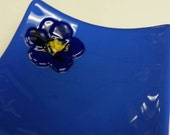 cobalt blue  fused glass sushi candy dish with dark cobalt flower