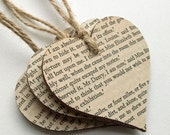 Book Paper Wooden Hanging Hearts