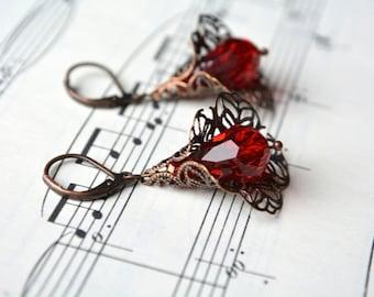 Glass Antiqued Copper Filigree Red Earrings Beaded Dangle Earrings Leverback Victorian