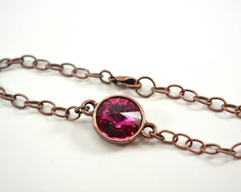 Dark Pink Copper Bracelet Antiqued Copper Chain Bracelet Swarovski Crystal Fuchsia Pink