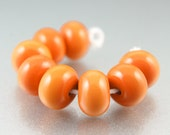 Handmade Lampwork Beads, Pumpkin Spice, Glass Spacers, Fall, Autumn, SRA Jewelry Supplies