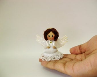 Miniature doll ornament - Handmade guardian angel - christmas gift idea
