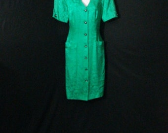 Pretty Silk Studio 100% Silk Dress Green Button Up Style Vintage Dress SM