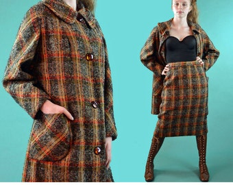 Vintage 50s Pencil Skirt Plaid Boucle Wool Skirt Suit Swing Jacket High Waist Skirt Tortoise Bakelite Buttons Mad Men Wool Skirt Suit M / L