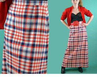 Vintage 60s Mod High Waist Skirt PLAID WOOL Maxi Skirt Red White & Blue Flare High Waisted Bohemian Maxi Skirt S / M