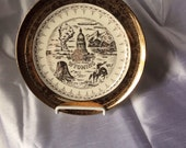 Vintage Wyoming State Collector Plate - travel Souvenir - Wall Decor - Crest O Gold Mark
