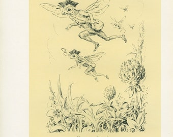 Flying Bees, Child, Tree, 2nd Day Pain, 1944 Vintage Children's Print 40, Silhouette Art, Book Plate, Mary Forster Knight, Yellow, Black