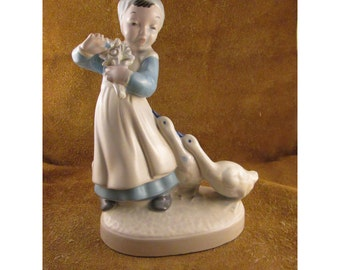 Dutch Girl with Geese Blue & White Ceramic Vintage Figurine