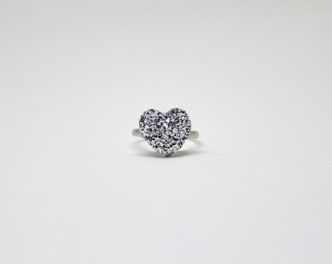 Valentines Day Love Heart Glitter Ring.